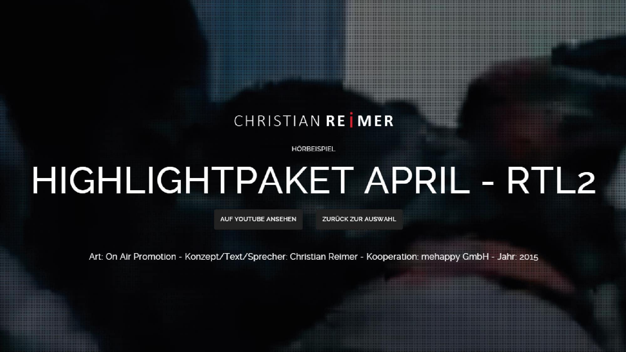 Highlights April RTL2. Gangs of New York. Hörbeispiel Christian Reimer