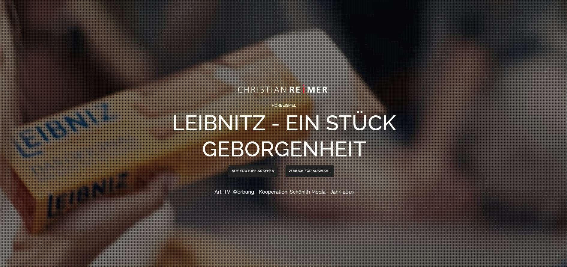 Leibnitz - Ein Stück Geborgenheit TV Spot Hörbeispiel Sprecher Christian Reimer