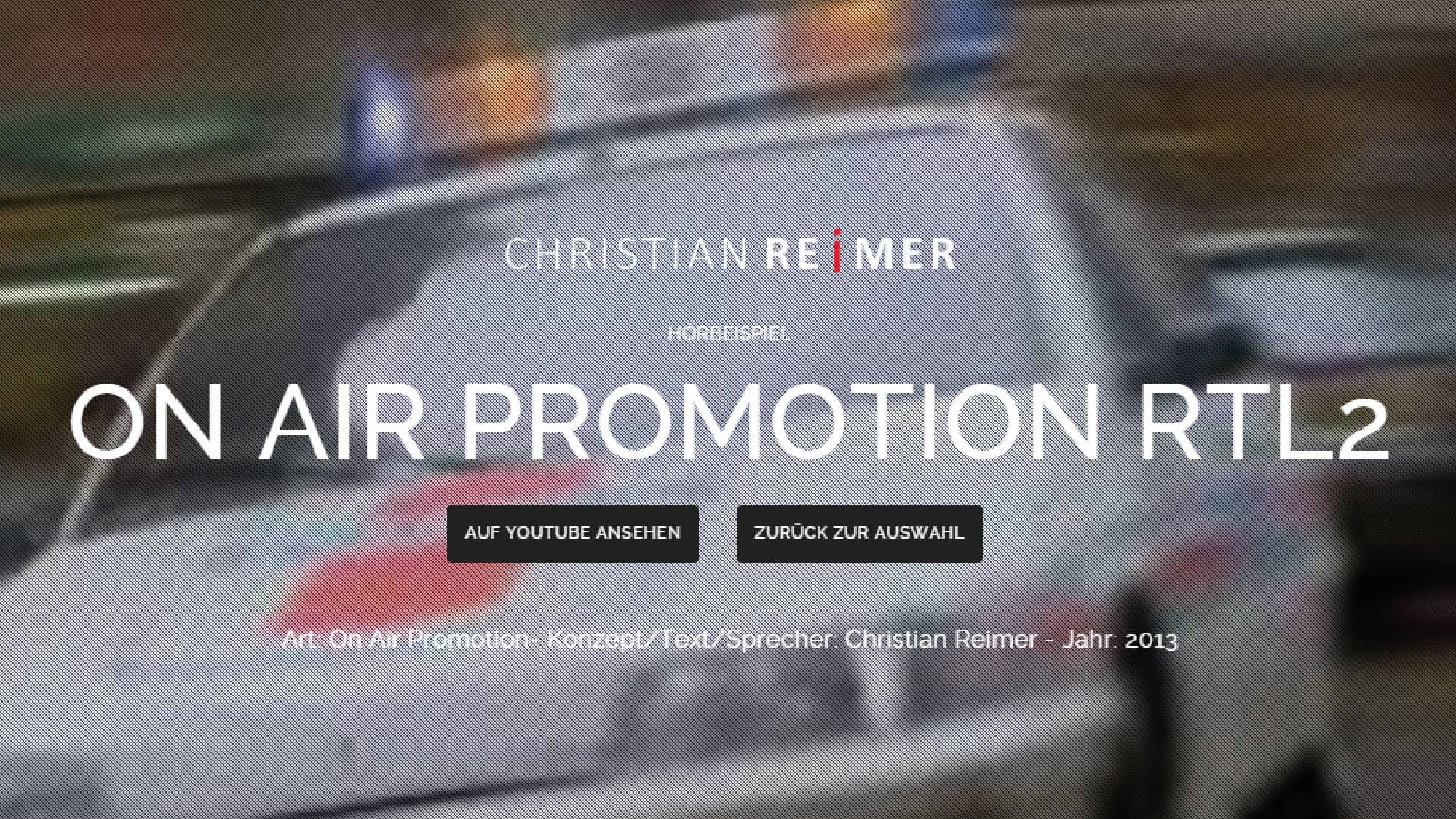 RTL2 On Air Promotion Trailer Hörbeispiel Christian Reimer
