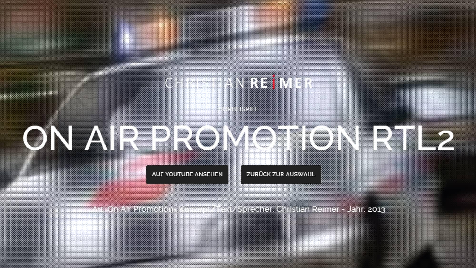 RTL2 On Air Promotion Trailer Hörbeispiel Christian Reimer